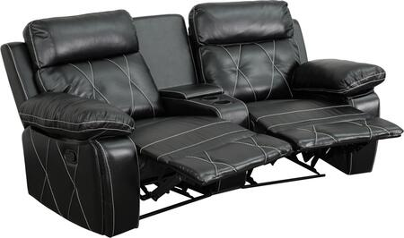 BT-70530-2-BK-CV-GG Real Comfort Series 2-Seat Reclining Black Leather Theater Seating Unit with Curved Cup