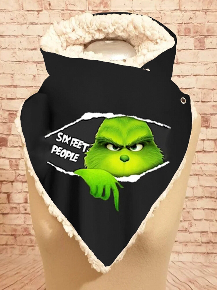 Women Cute Cartoon Green Monster Figure Pattern Soft Personality Neck Protection Keep Warm Scarf