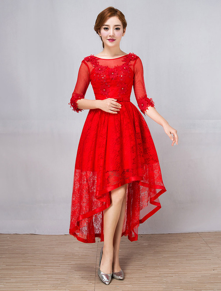 Milanoo Red Cocktail Dresses Lace Half Sleeve Asymmetrical Beaded Bow Sash Short Prom Dresses
