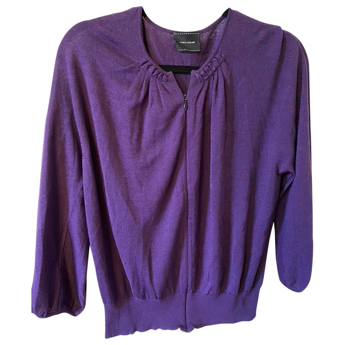 Longchamp - Pull   pour femme en laine - violet