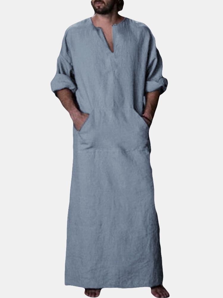 Mens Kaftan Vintage Loose V-neck Splits Long Dress Long Sleeve Tops Shirts