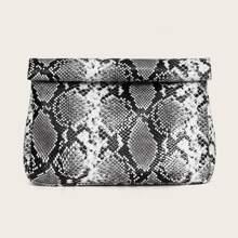 Bolsa clutch con estampado de piel de serpiente