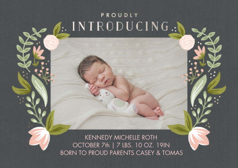 Baby Announcements 5x7 Cards, Premium Cardstock 120lb with Scalloped Corners, Card & Stationery -Newborn Peonies