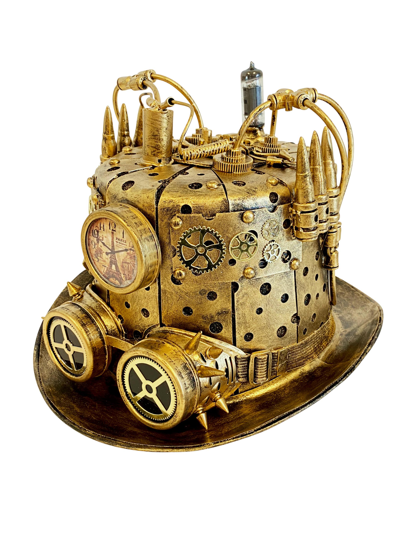 Kostuemzubehor Hut Steampunk mit Licht gold 59