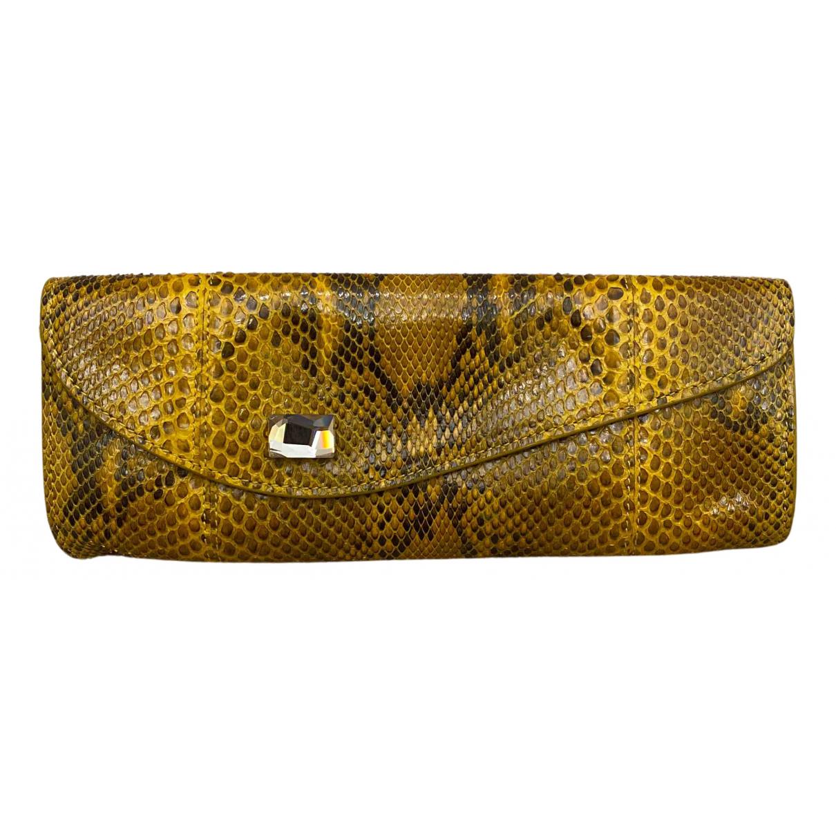 - Pochette   pour femme en python - jaune