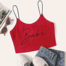 Babe Graphic Ribbed Cropped Cami Top