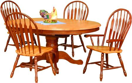 Sunset Selections Collection DLU-TBX4866-4130A-NLO5PC 5 Piece Dining Set with Round Table + 4