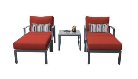 Lexington LEXINGTON-05b-TERRACOTTA 5-Piece Aluminum Patio Set 05b with 2 Club Chairs  1 End Table and 2 Ottomans - Ash and Terracotta