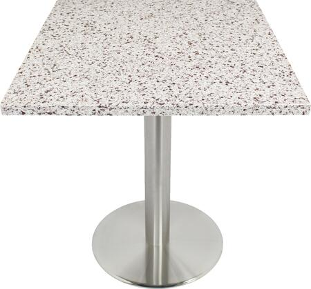 Q411 36X36-SS14-23H 36x36 Chocolate Blizzard Quartz Tabletop with 23 Round #304 Grade Stainless Steel Bar Height Table