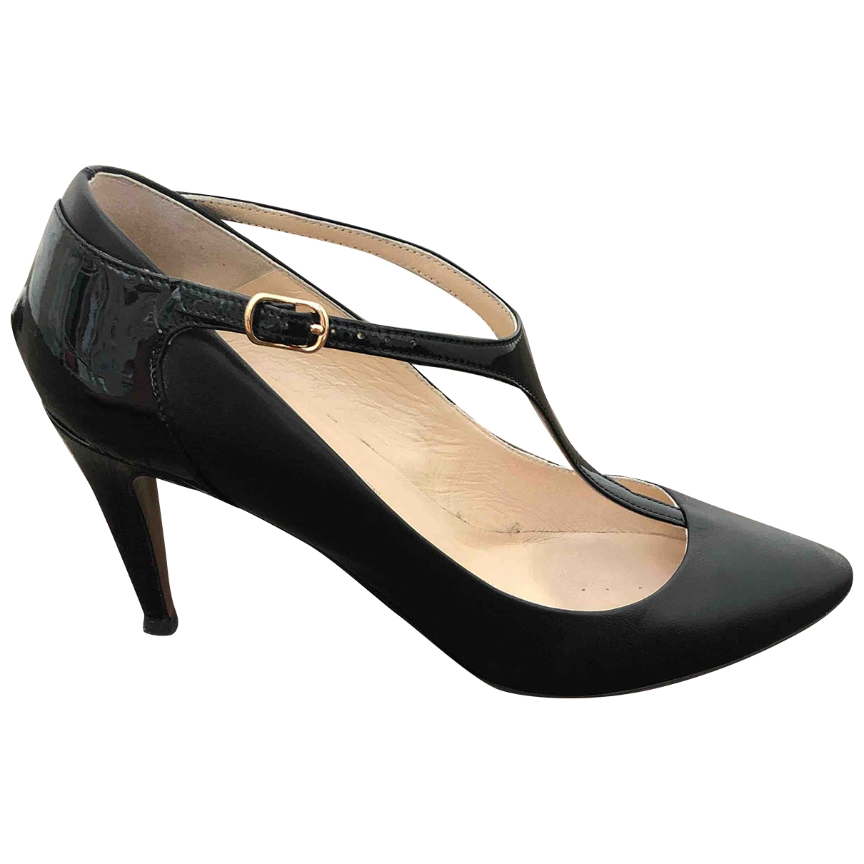 Non Signé / Unsigned \N Black Leather Heels for Women 38.5 EU