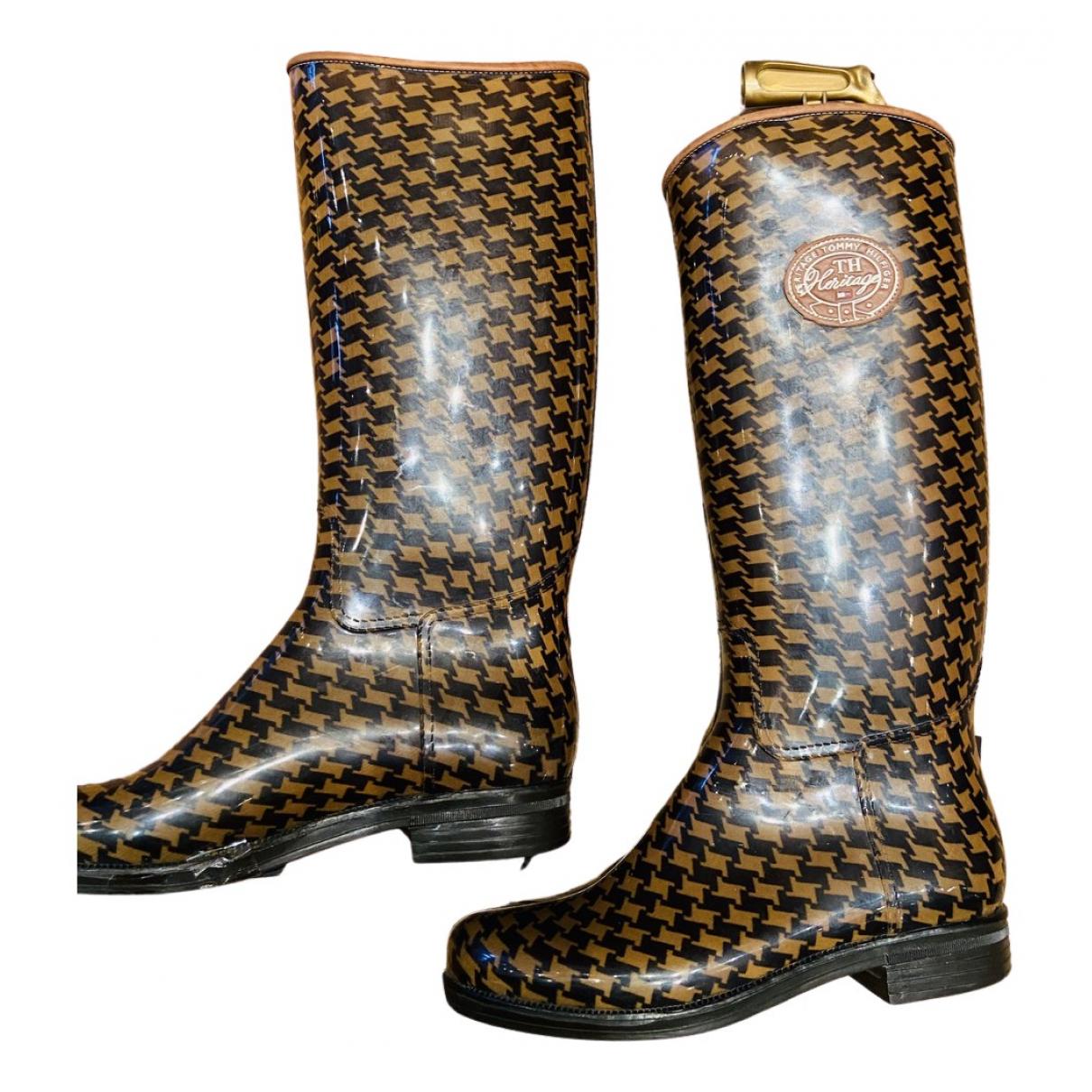 Tommy Hilfiger - Bottes   pour femme en caoutchouc - marron