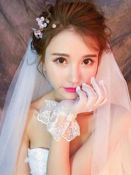 Milanoo Wedding Gloves Tulle Ruffles Bridal Gloves