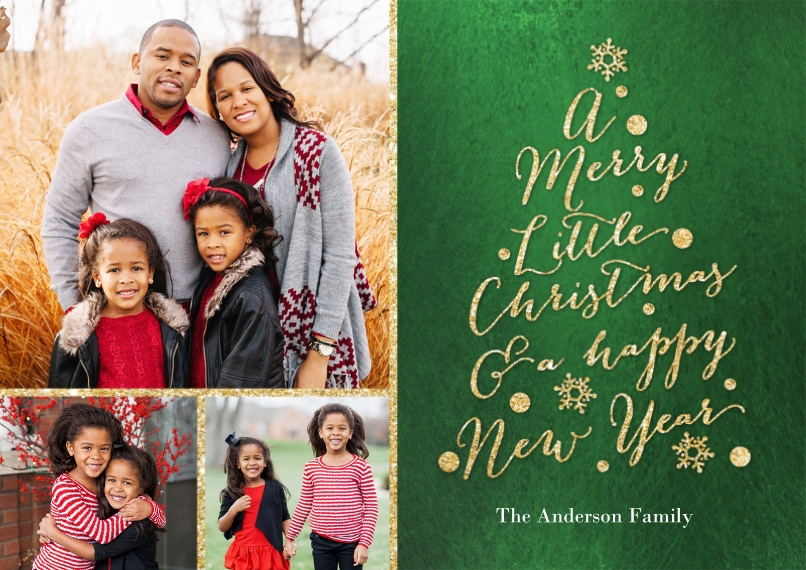 Christmas Photo Cards 5x7 Cards, Standard Cardstock 85lb, Card & Stationery -Christmas Glitter Word Tree