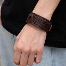 Maenner Gewebtes PU Leder Armband