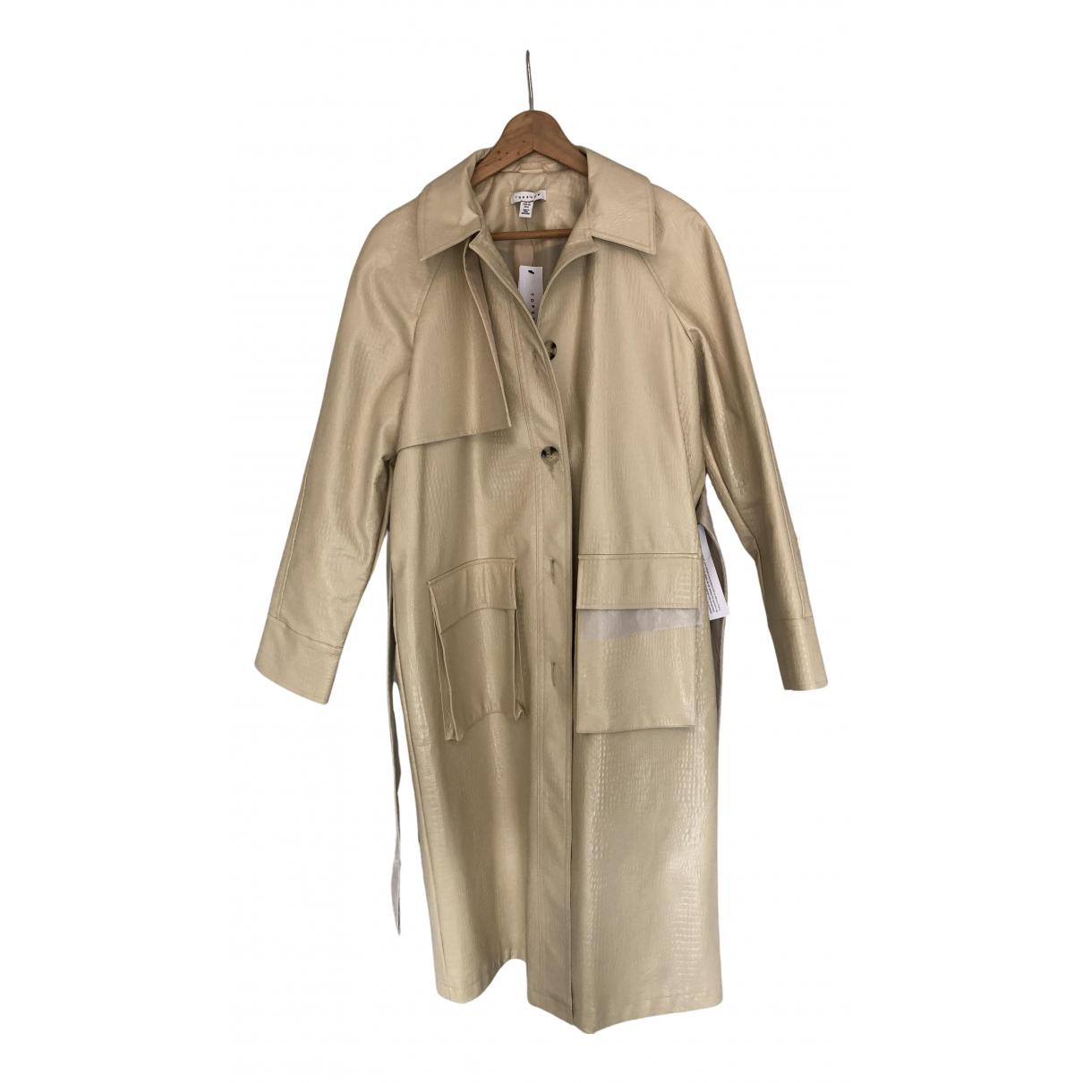 Topshop - Manteau   pour femme en cuir - beige