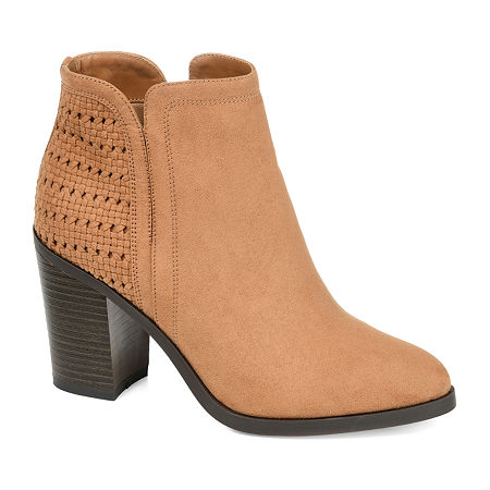 Journee Collection Womens Jessica Stacked Heel Booties, 8 1/2 Medium, Beige
