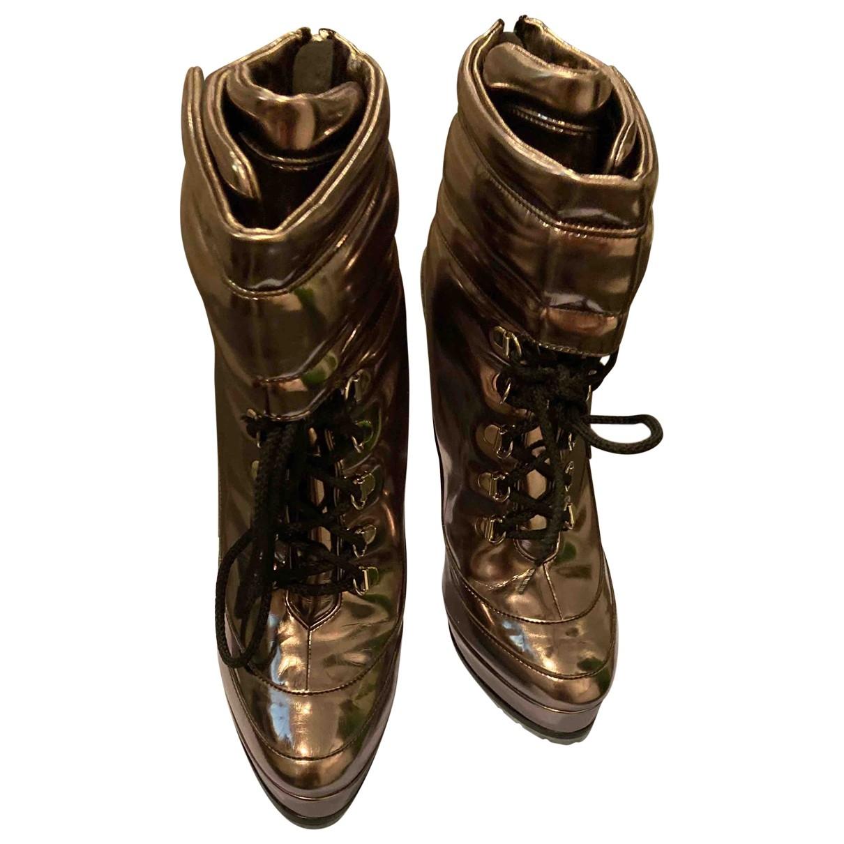 Blumarine - Boots   pour femme en cuir - argente