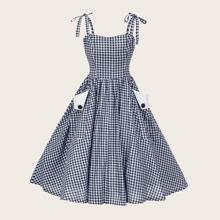 Plus Gingham Print Ball Gown Cami Dress