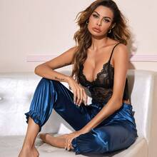 Lace Cami Top & Satin Pants PJ Set