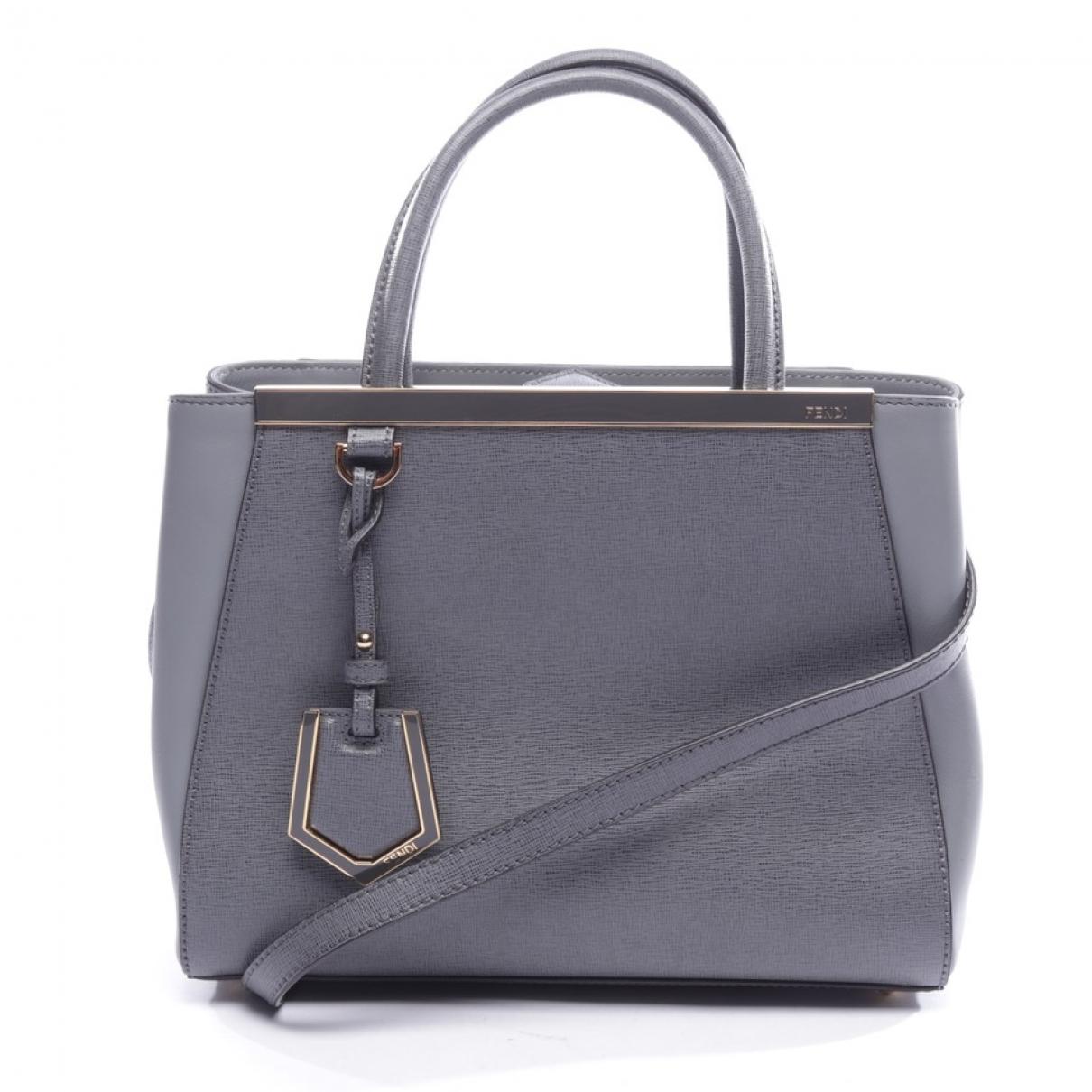 Fendi 2Jours Grey Leather handbag for Women \N