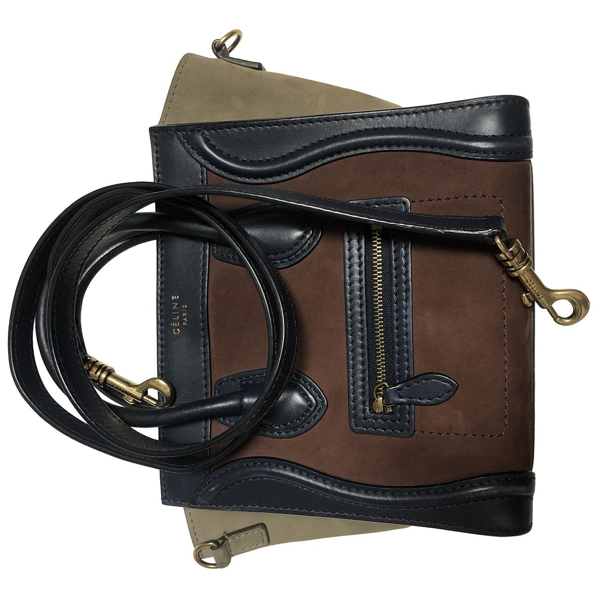 Celine Nano Luggage Handtasche in  Bunt Veloursleder