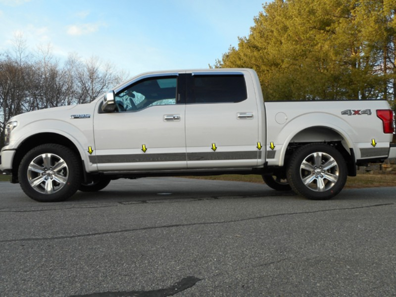 Quality Automotive Accessories Stainless Steel Rocker Panel Trim Upper Kit Ford  F-150 2015-2021