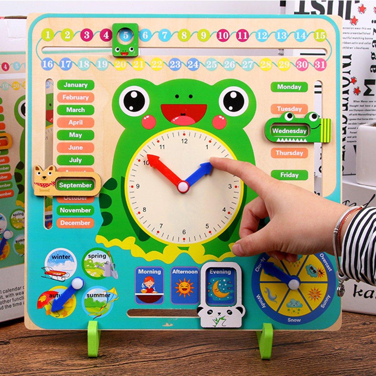 Educational Wooden Toys Children School Calendar Clock Weather Learning Board