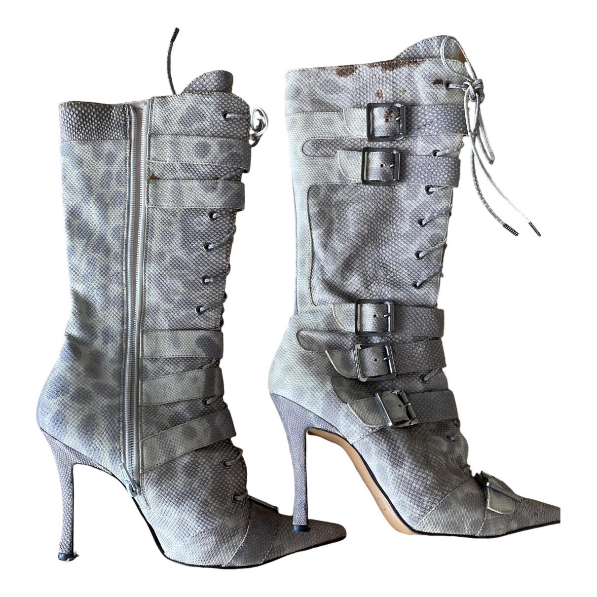 Dior \N Grey Python Boots for Women 36 EU
