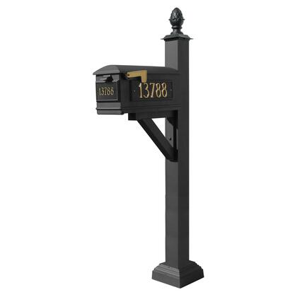 WPD-SC2-S3-LM-3P-BLK Westhaven System with Lewiston Mailbox  (3 Cast Plates) Square Collar & Pineapple Finial in