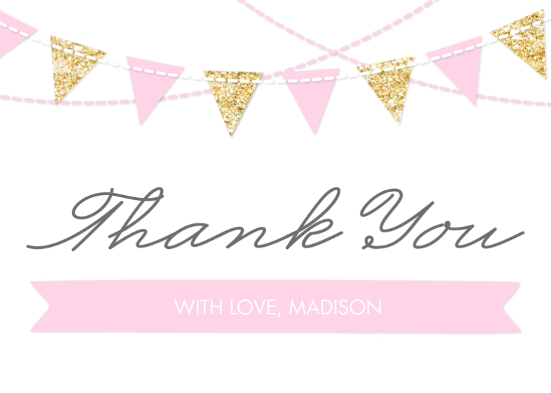 Kids Thank You Cards 5x7 Folded Cards, Standard Cardstock 85lb, Card & Stationery -Thank You Princess Flags