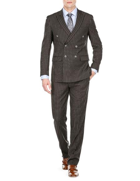 Men's Double Breasted Slim Fit Bold Stripe Black Peak Lapel Suits