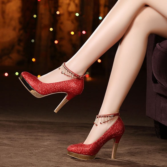 Ericdress Rhinestone Stiletto Heel Platform Wedding Shoes