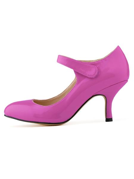 Milanoo Womens Mid Heel Pumps Vintage Round Toe Kitten Heel Mary Jane Shoes in Black