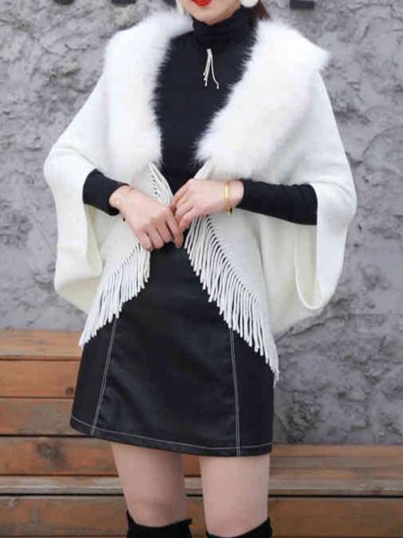 Milanoo Poncho de piel sintetica para mujer, cuello vuelto, capa blanca con flecos en capas