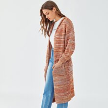 Pocket Front Space Dye Hooded Cardigan