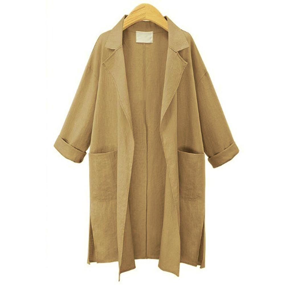 Long Sleeve Loose Model Plain Pattern Thin Notched Lapel Coat