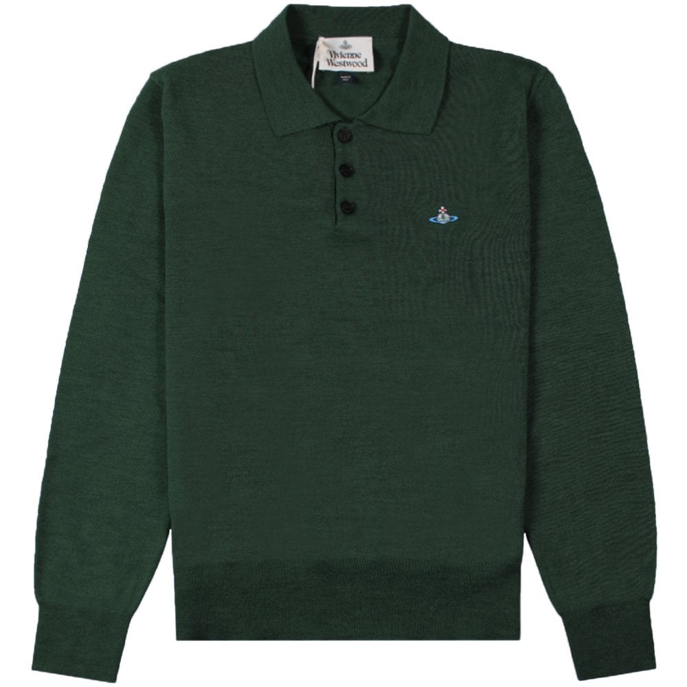 Vivienne Westwood Knitted Long Sleeve Orb Logo Polo Colour: GREEN, Size: LARGE