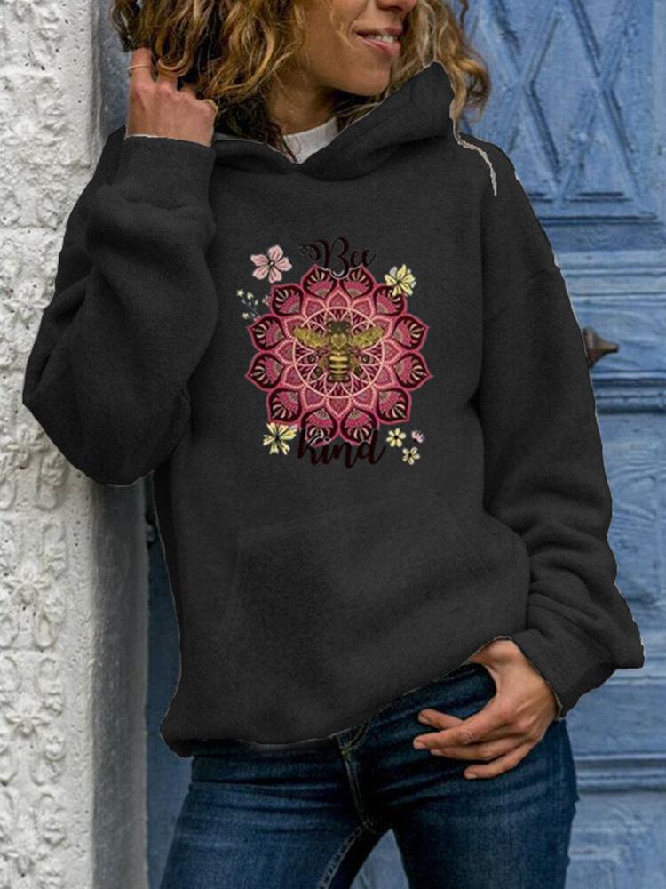 Bee Flower Print Casual Long Sleeve Hoodie For Women