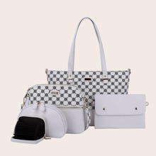 5pcs Quilted Tote Bag Set