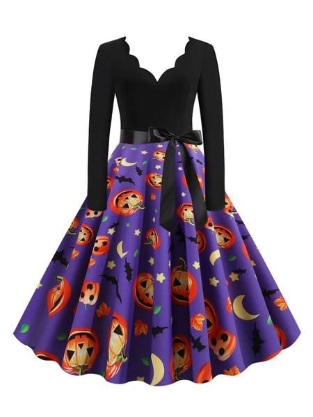 Milanoo Women\'s Vintage Dress 1950s V-Neck Long Sleeves Orange Printed Rockabilly Dress