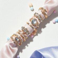 Anillo con diseño de hoja grabada con diamante de imitacion 8 piezas