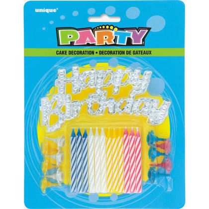 Birthday Candle Silver Cake Topper with Striped Birthday Candles 12Pcs