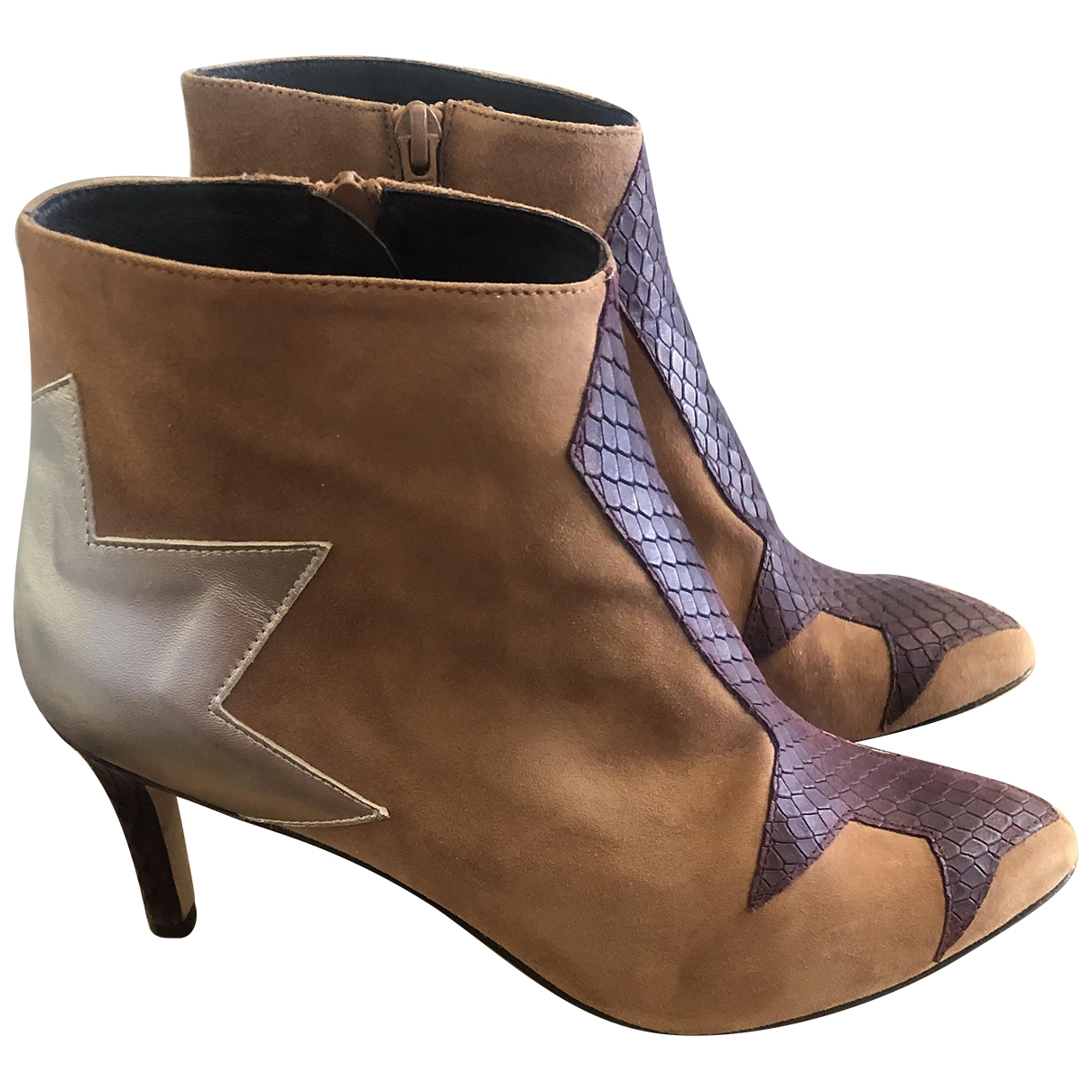Non Signé / Unsigned \N Camel Suede Ankle boots for Women 38 EU