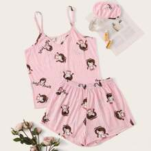 Cartoon Graphic Cami PJ Set With Eye Cover