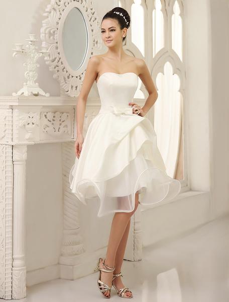 Milanoo Marfil vestido de novia con escote palabra de honor y lazo hasta la rodilla