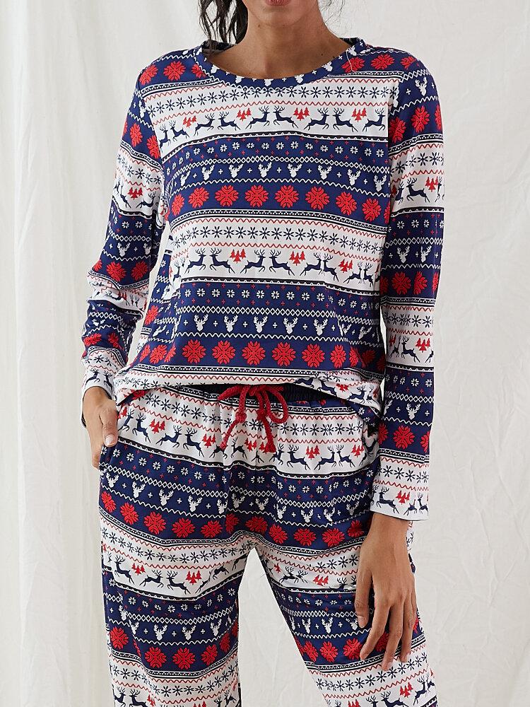 Plus Size Women Christmas Allover Snowflake Elk Printed Crew Neck Comfy Drawstring Pants Pajamas Set With Pocket
