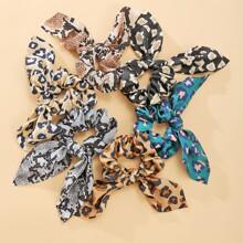 6pcs Snakeskin & Leopard Scrunchie Scarf