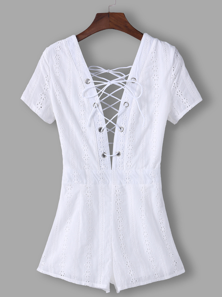 Yoins White Lace Insert Plain Deep V Neck Short Sleeves High-waisted Playsuits