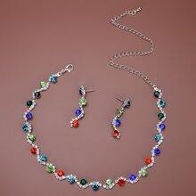 1 Stueck Halskette mit Strass & 1 Paar Ohrringe