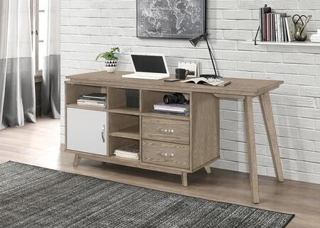Manchester Collection 804475 63 Writing Desk with Two Storage Drawers  Flared Tapered Legs  and Five Shelves in Grey Oak/Light Grey